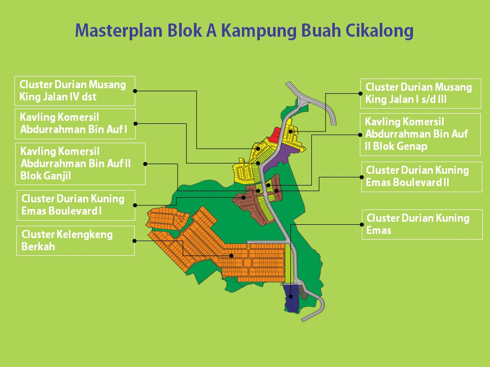master plan blok A kampung buah cikalong
