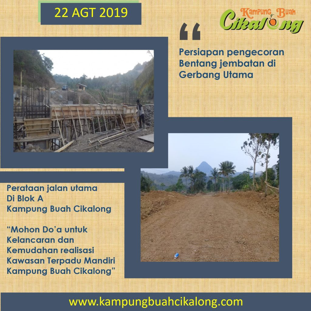 progress di gerbang utama kampung buah cikalong