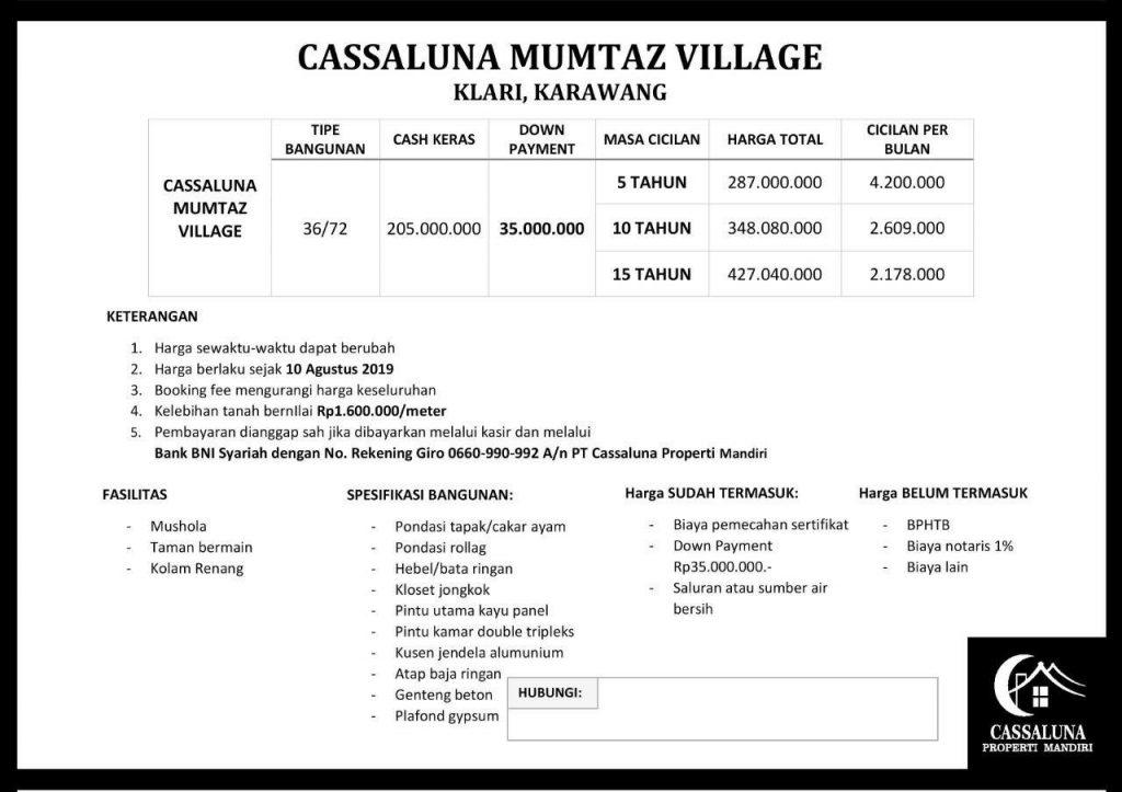 price list casalunna el mumtaz karawang