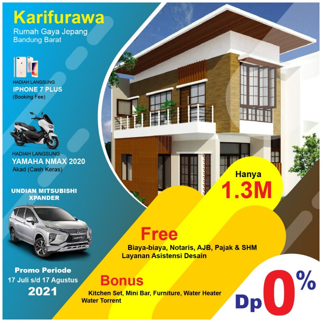 Rumah Cantik Bergaya Jepang View Kota Bandung Dekat Agro Wisata Lembang DP 0% Nouka Village