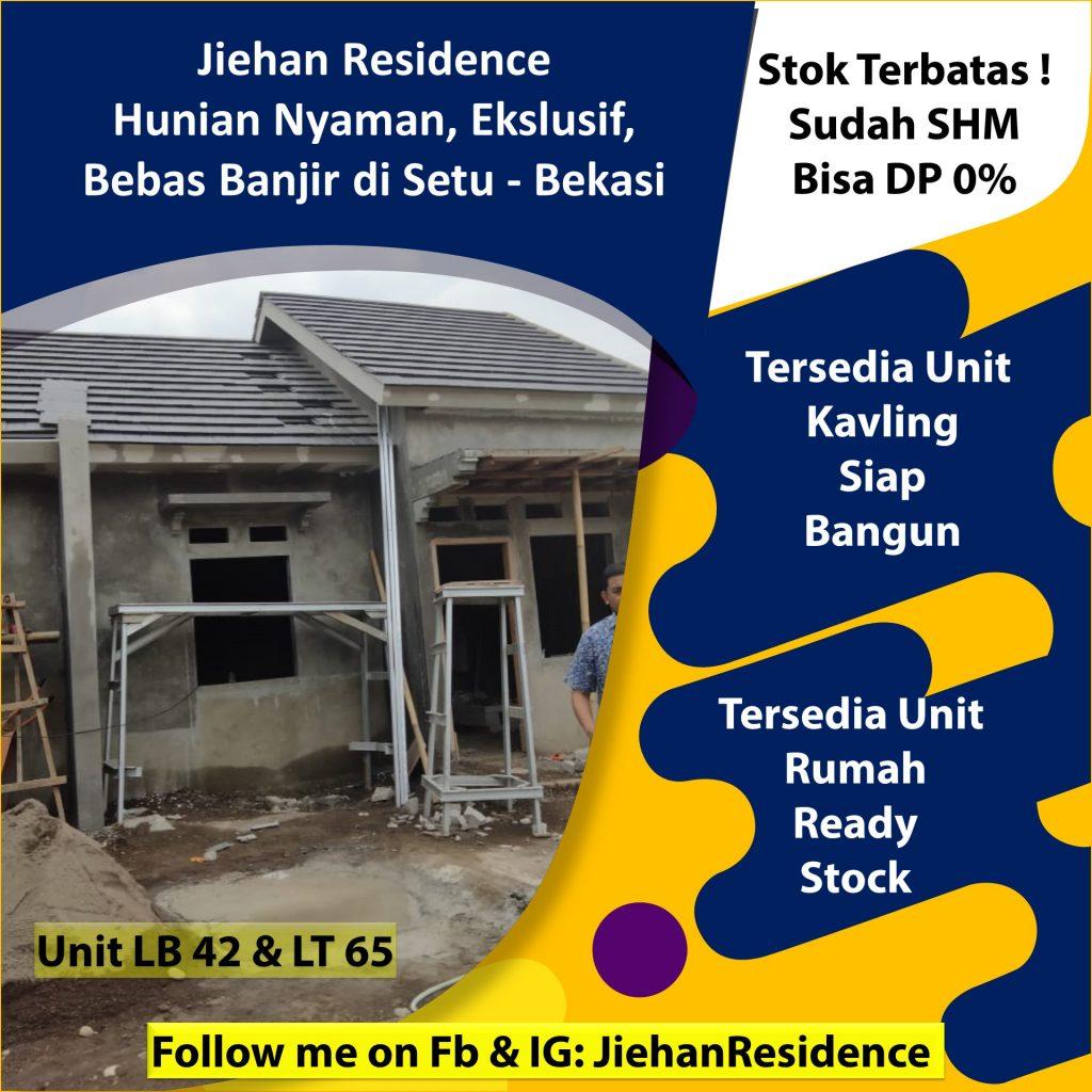 jual rumah ekslusif murah bebas banjir di jiehan residence setu bekasi